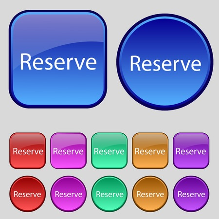 reserved: Reserved sign icon. Set of colored buttons. Vector illustration
