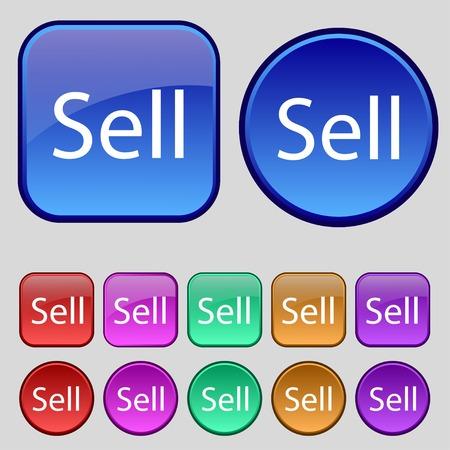 earnings: Verkaufen Symbol. Contributor Ergebnis Taste. Set von farbigen Tasten. Vektor-Illustration