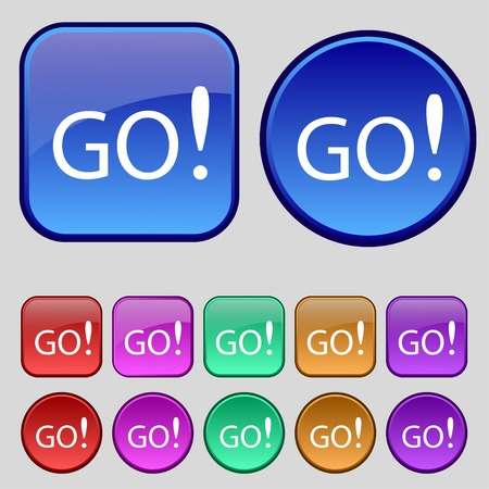 approval button: GO sign icon. Set of colored buttons. Vector illustration