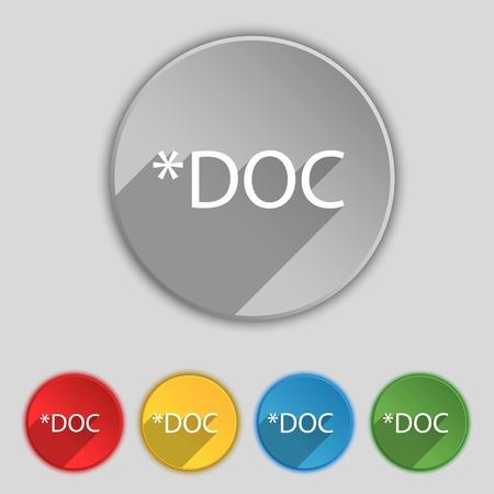file extension: File document icon. Download doc button. Doc file extension symbol. Set of colored buttons. Vector illustration