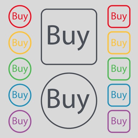 usd: Buy sign icon. Online buying dollar usd button. Set of colored buttons. Vector illustration