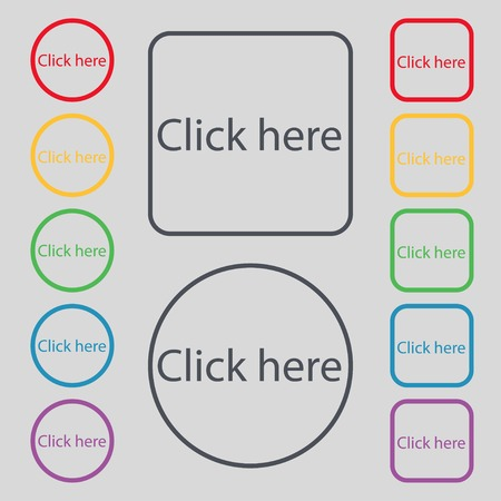 press button: Click here sign icon. Press button. Set of colored buttons. Vector illustration Illustration