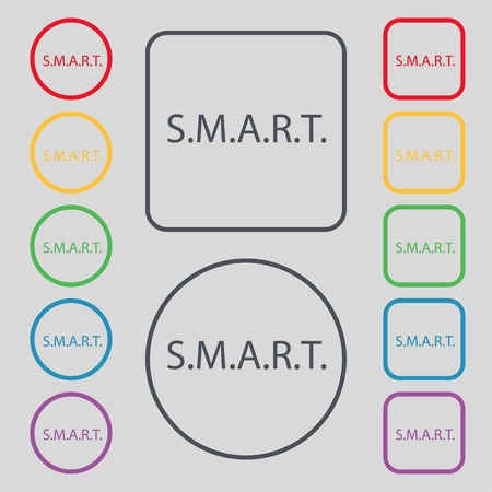 press button: Smart  sign icon. Press button. Set of colored buttons. Vector illustration Illustration