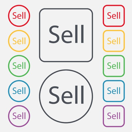 contributor: Sell sign icon. Contributor earnings button. Set of colored buttons. Vector illustration