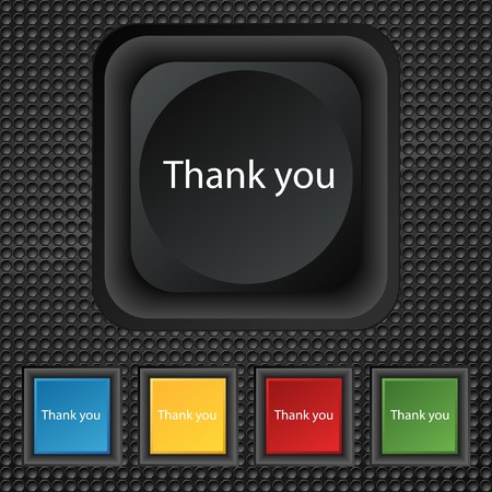 gratitude: Thank you sign icon. Gratitude symbol. Circles and rounded squares 12 buttons. Vector illustration