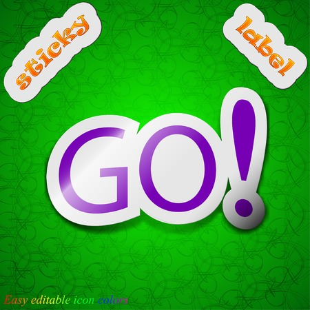 approval button: GO icon sign. Symbol chic colored sticky label on green background. Vector illustration