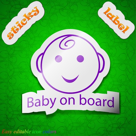 Baby on board icon sign. Symbol chic colored sticky label on green background. Vector illustration Vector