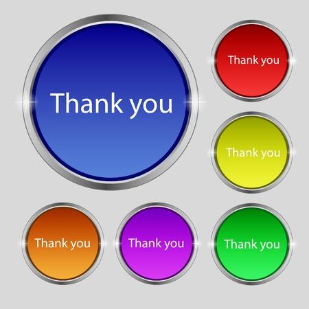 gratitudine: Grazie firmare icona. Simbolo Gratitudine. Cerchi e quadrati arrotondati 12 pulsanti. Illustrazione vettoriale