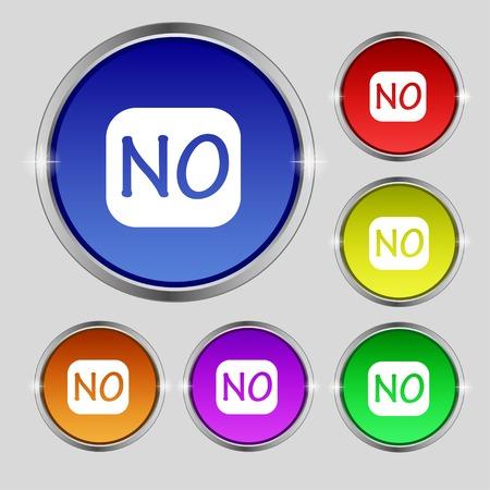 translation: Norwegian language sign icon. NO Norway translation symbol. Set of colored buttons. Vector illustration
