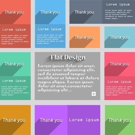 thank you sign: Thank you sign icon. Gratitude symbol. Circles and rounded squares 12 buttons. Vector illustration