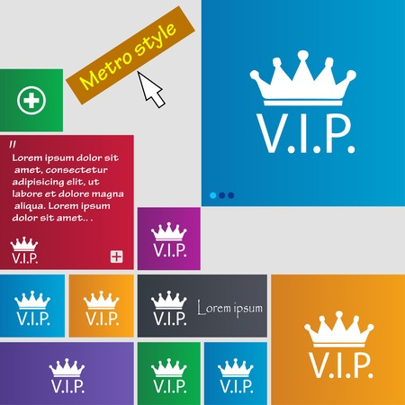 very: Vip sign icon. Membership symbol. Very important person. Set of colored buttons. Vector illustration Illustration