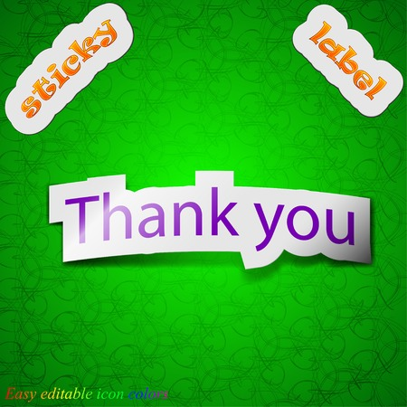 politeness: Thank you icon sign. Symbol chic colored sticky label on green background. Vector illustration