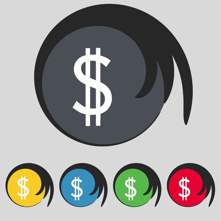 usd: Dollars sign icon. USD currency symbol. Money label. Set of colored buttons. Vector illustration