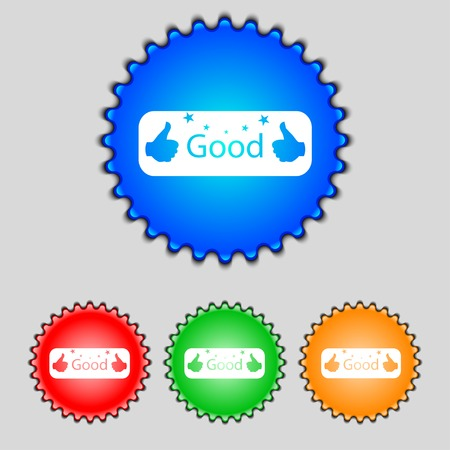 goed teken: Good sign icon. Set of colored buttons. Vector illustration
