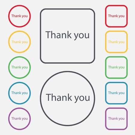 politeness: Thank you sign icon. Gratitude symbol. Circles and rounded squares 12 buttons. Vector illustration