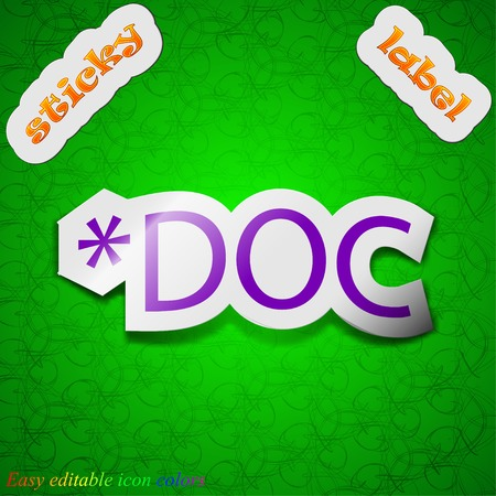 file extension: Doc file extension icon sign. Symbol chic colored sticky label on green background. Vector illustration