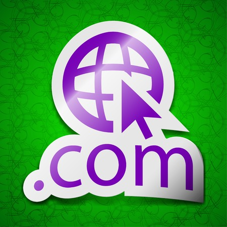 top pointer: Domain COM icon sign. Symbol chic colored sticky label on green background. Vector illustration