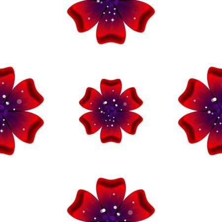 Beautiful rad flower. Seamless floral pattern. Vector illustration