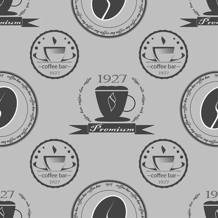 Set of vintage coffee themed monochrome labels. Seamless pattern. Vector illustration Vector