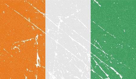 cote: Flag of Cote divoire with old texture. Vector illustration