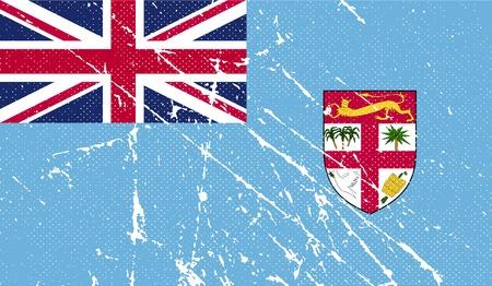 fiji: Vlag van Fiji met oude textuur. Vector illustratie
