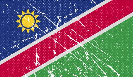 namibia: Flag of Namibia with old texture. Vector illustration