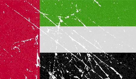 emirates: Flag of United Arab Emirates with old texture. Vector illustration