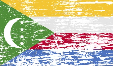 comoros: Flag of Comoros with old texture. Vector illustration