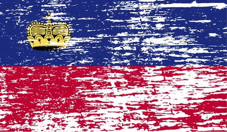 princely: Flag of Liechtenstein with old texture. Vector illustration Illustration