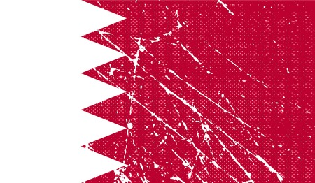 proportional: Flag of Bahrain with old texture. Vector illustration