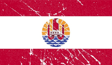 polynesia: Flag of french polynesia with old texture. Vector illustration
