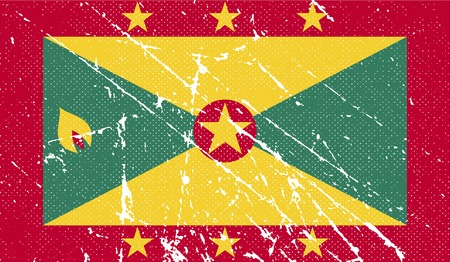 antilles: Flag of Grenada with old texture. Vector illustration