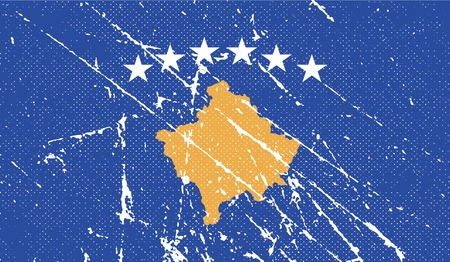 republika: Flag of Kosovo with old texture. Vector illustration