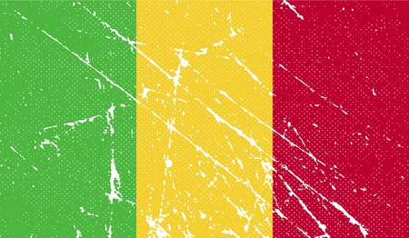 benin: Flag of Mali with old texture. Vector illustration Illustration