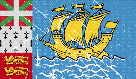 overseas: Flag of Saint Pierre and Miquelon, France with old texture. Vector illustration