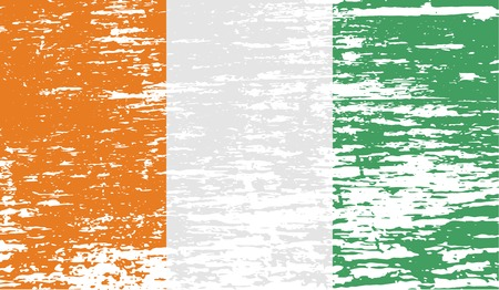proportional: Flag of Cote divoire with old texture. Vector illustration