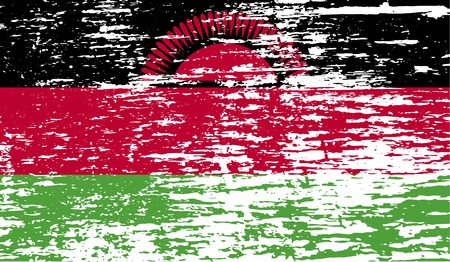 proportional: Flag of Malawi with old texture. Vector illustration