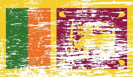 sri: Flag of Sri Lanka with old texture. Vector illustration Illustration