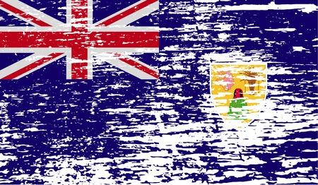 turks: Bandera de Islas Turcas y Caicos con textura de edad. Ilustraci�n vectorial