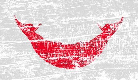 rapa nui: Bandera de Pascua Rapa Nui, CHILE con textura de edad. Ilustración vectorial
