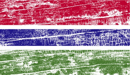 proportional: Flag of Gambia with old texture. Vector illustration Illustration