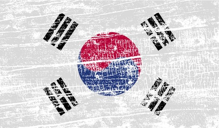 graphical chart: Flag of South Korea with old texture. Vector illustration