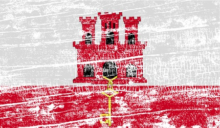 gibraltar: Flag of Gibraltar with old texture. Vector illustration