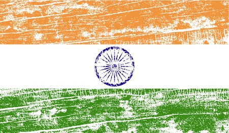 ashoka: Flag of India with old texture. Vector illustration Illustration