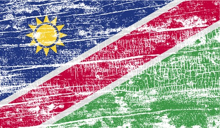 flagged: Flag of Namibia with old texture. Vector illustration