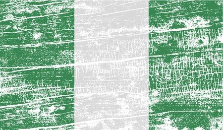 anthem: Flag of Nigeria with old texture. Vector illustration Illustration