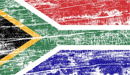 Flag of South Africa with old texture. Vector illustration Illustration
