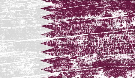qatar: Flag of Qatar with old texture. Vector illustration