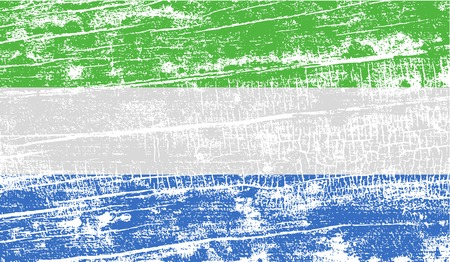 sierra: Flag of Sierra Leone with old texture. Vector illustration