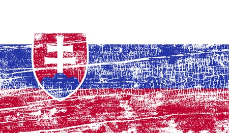 Flag of Slovakia with old texture. Vector illustration